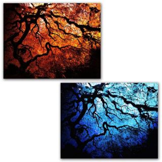 John Black Japanese Fire and Ice Trees 2 Piece Gallery Wrapped
