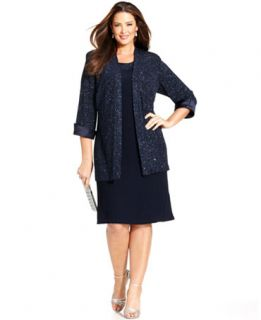 Richards Plus Size Sleeveless Glitter Shift and Jacket   Dresses