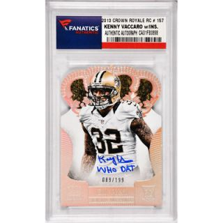 Kenny Vaccaro New Orleans Saints  Authentic Autographed 2013 Panini Crown Royale Rookie #157 Card with Inscription