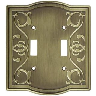 Stanley National Hardware Victoria 2 Gang Switch Wall Plate   Antique brass V8053 DBL SWITCH PLATE A