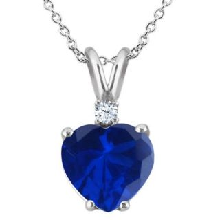 2.34 Ct Heart Shape Blue Created Sapphire White Topaz 18K White Gold Pendant
