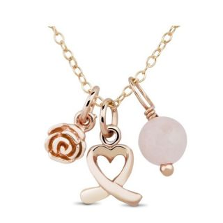 Rose Goldplated Sterling Silver Open Heart, Rose and Pink Bead Charm