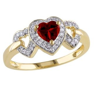 CT. T.W. Garnet and 1/8 CT. T.W. Diamond Heart Ring in 10K Yellow