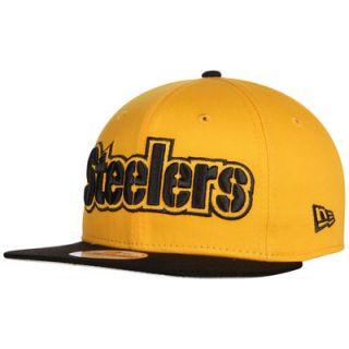 Pittsburgh Steelers New Era Flip Up Team Redux 9FIFTY Snapback Adjustable Hat   Gold