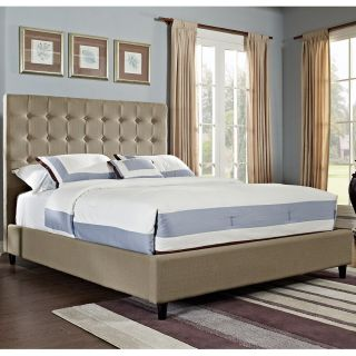 Powell Furniture 165 062M1 Soft Roll Button Tufted King Bed in Tan