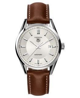 TAG Heuer Watch, Mens Swiss Automatic Carrera Brown Leather Strap