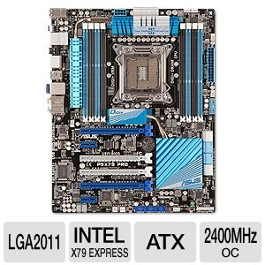 ASUS P9X79 PRO Intel X79 Motherboard   ATX, Socket R (LGA2011), Intel X79 Express, 2400MHz DDR3 (O.C.), SATA 6.0 Gb/s, 8 CH Audio, Gigabit LAN, USB 3.0, PCI Express 3.0, CrossFireX/SLI, Bluetooth
