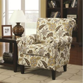 Coaster Furniture 902082 Smooth and Simple Retro Styled Accent Chair with Decorative Rolled Arms