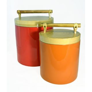 256 Ounce Spun Bamboo and Lacquer Canister by Bodhi Tree Collections