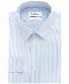 Calvin Klein STEEL Classic Fit Non Iron Performance Ice Blue Stripe