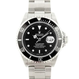 Pre Owned Rolex Mens Submariner Stainless Steel Black Dial Watch