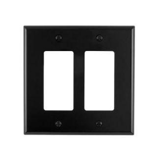Leviton Decora 2 Gang Midway Nylon Wall Plate, Black R55 PJ262 00E