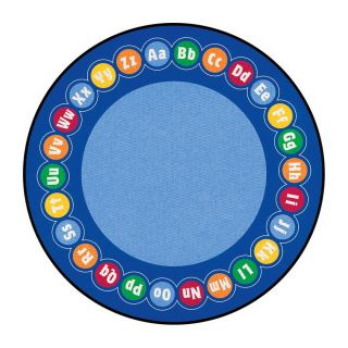 Learning Carpets Cut Pile Rug Round Blue Educational Area Rug (Actual: 9 ft x 9 ft)