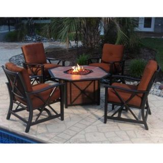 Oakland Living Haywood Deep Sitting 5 Piece Fire Pit Chat Set