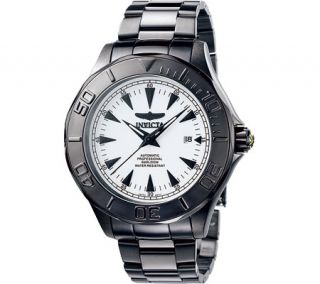 Mens Invicta 7113 Signature Automatic 3 Hand   Black Stainless Steel/White