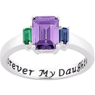 Personalized Sterling Silver ''Forever My Daughter'' Birthstone Ring