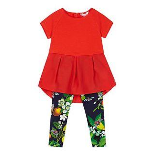 Baker by Ted Baker Girls red tunic and fruit print leggings set
