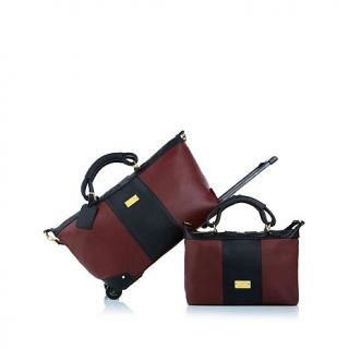 JOY Colorblock Genuine Leather Carry On Wheeled Duffle and Bag Set   7786546