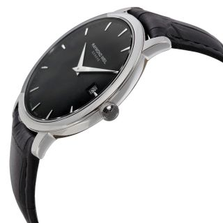 Raymond Weil Toccata Black Dial Black Leather Strap Mens Watch 5588