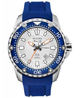 Bulova Mens Automatic Marine Star Blue Silicone Strap Watch 47mm