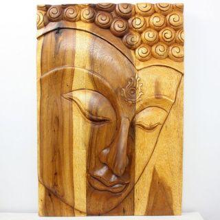 Hand carved 30 x 20 Oak Oiled Buddha/ Ushnisha Wall Panel (Thailand
