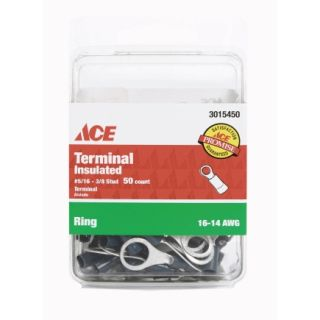 Ace 16 14 AWG 1 4in to 5 16in Stud Blue Insulated Ring Terminal   Terminals