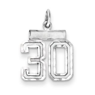 Sterling Silver Small Number 30 Charm