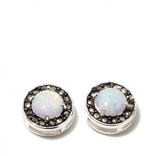 Marcasite and Synthetic Opal Sterling Silver Stud Earrings   8110577