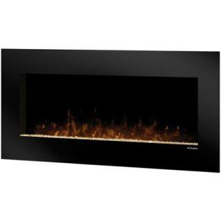 Dimplex Wall Mount Electric Flame Fireplace, Black with Amber Glass
