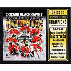 2010 Stanley Cup Champions Chicago Blackhawks 12x15 inch Stat Plaque