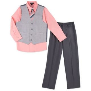 George Boys' Glen Plaid Dress Vest Set