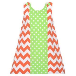 Baby Girls 12M Orange Chevron Green Dot Fall Jumper Dress