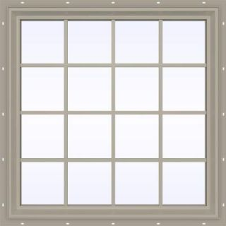 JELD WEN 47.5 in. x 47.5 in. V 2500 Series Fixed Picture Vinyl Window with Grids   Tan THDJW141600046