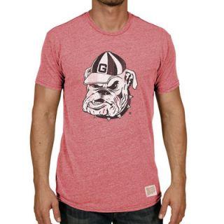 Georgia Bulldogs Original Retro Brand Vintage Bulldog Tri Blend T Shirt   Heather Red