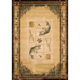 United Weavers Lakeside Beige 5 ft. 3 in. x 7 ft. 6 in. Contemporary Lodge Area Rug 130 41117 58