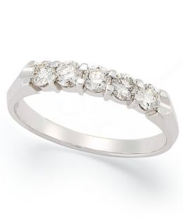 Certified Five Stone Diamond Anniversary Band Ring in 14k White Gold