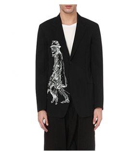 YOHJI YAMAMOTO   Skeleton sketch printed wool jacket
