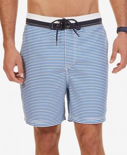 Nautica Mens Quick Dry Striped Swim Trunks   Swimwear   Men