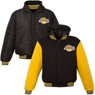 Los Angeles Lakers Youth Boys Reversible Hooded Jacket   Black/Yellow
