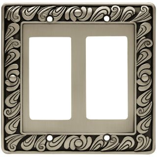 Brainerd 2 Gang Brushed Satin Pewter Decorator Wall Plate