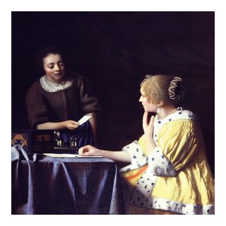 iCanvas Lady Maidservant Holding Letter Canvas Wall Art by Johannes