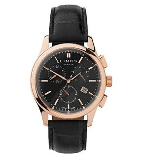 LINKS OF LONDON   Regent rose gold plated and leather watch