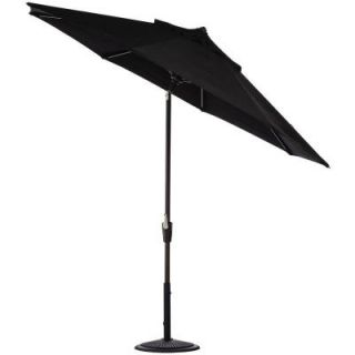 Home Decorators Collection 6 ft. Auto Tilt Patio Umbrella in Black Sunbrella with Black Frame 1548730210