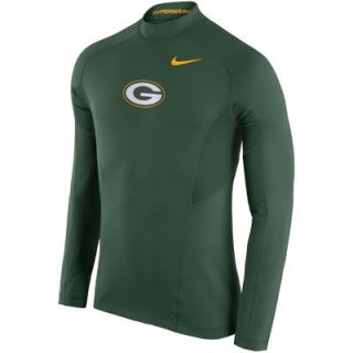 Green Bay Packers Nike Hyperwarm Fitted Long Sleeve Performance T Shirt   Green