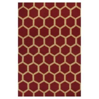 Kas Rugs Party Tiles Red/Cream 7 ft. 6 in. x 9 ft. 6 in. Area Rug MEI252476X96