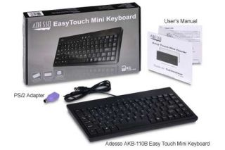 Adesso AKB 110B Easy Touch Mini Keyboard   USB, PS/2