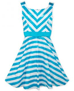 Rare Editions Girls Turquoise & White Faded Stripe Dress   Kids