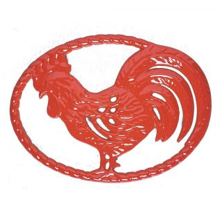 Chasseur CI 1076 FR CI 131 11 x 8 Cast Iron Rooster Trivet in Flame Red
