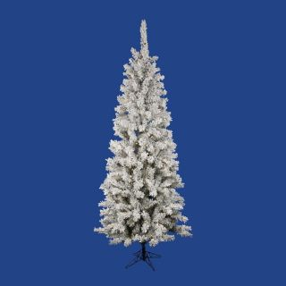 Vickerman 6.5 ft Pre Lit Flocked Slim Artificial Christmas Tree with White LED Lights