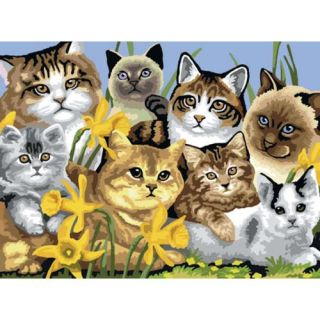 """Junior Large Paint By Number Kit 15 1/4"""" X 11 1/4"""" Cats Montage"""